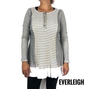 Everleigh Henley Style Striped Tunic Top Medium